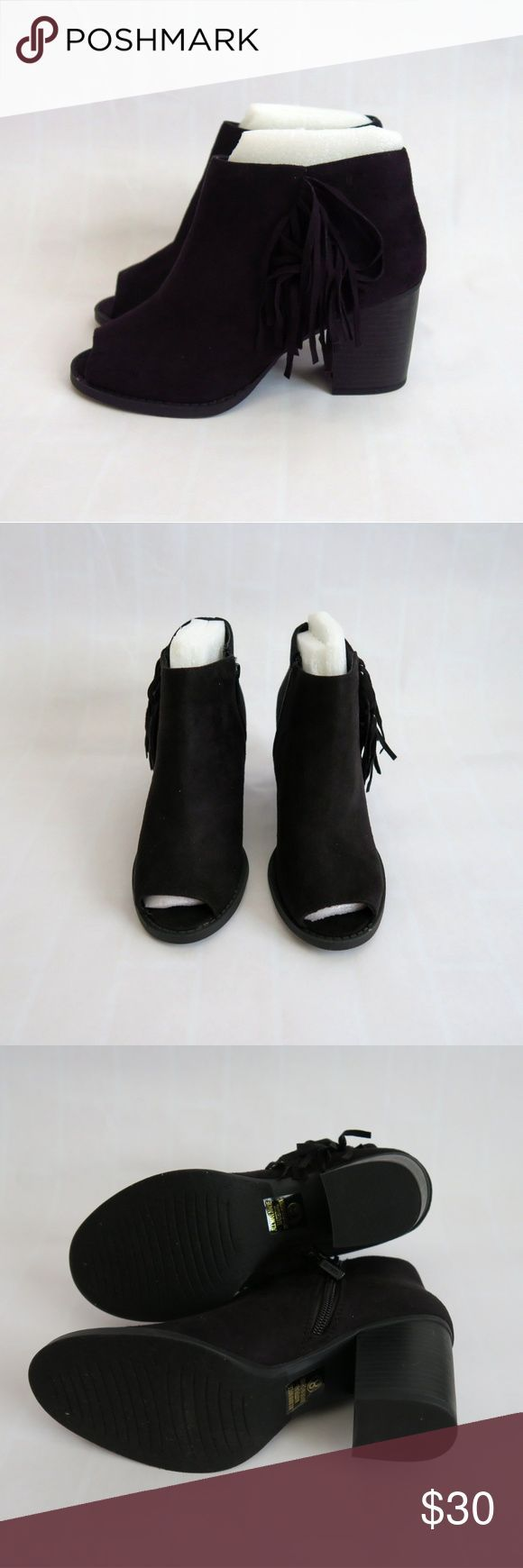 Black faux suede open toe booties Brand: Shiekh Size: 8 Color: Black New(with box) Side fringe Side zipper Open toe Faux suede Wooden heel Shaft heig