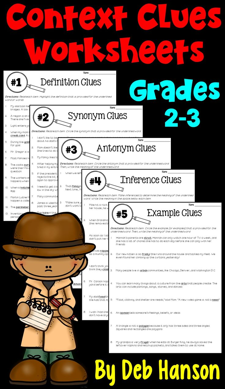 Context Clues Worksheets- This packet features the five types of context clues: Definition, Synonym, Antonym, Inference, and Example