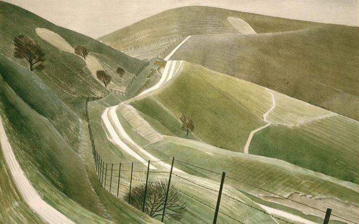 The glorious English landsapes of Eric Ravilious. Chalk Paths (1935) by Eric Ravilious CREDIT: BRIDGEMANART.COM