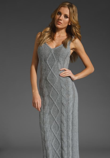 SPRING & CLIFTON Snowden Cableknit Maxi in Heather Gray - Lovely!