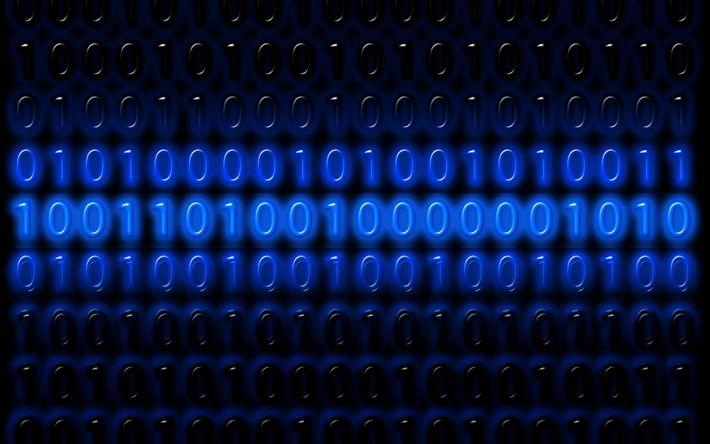 Lataa kuva 4k, binary code, luova, numeroa, art
