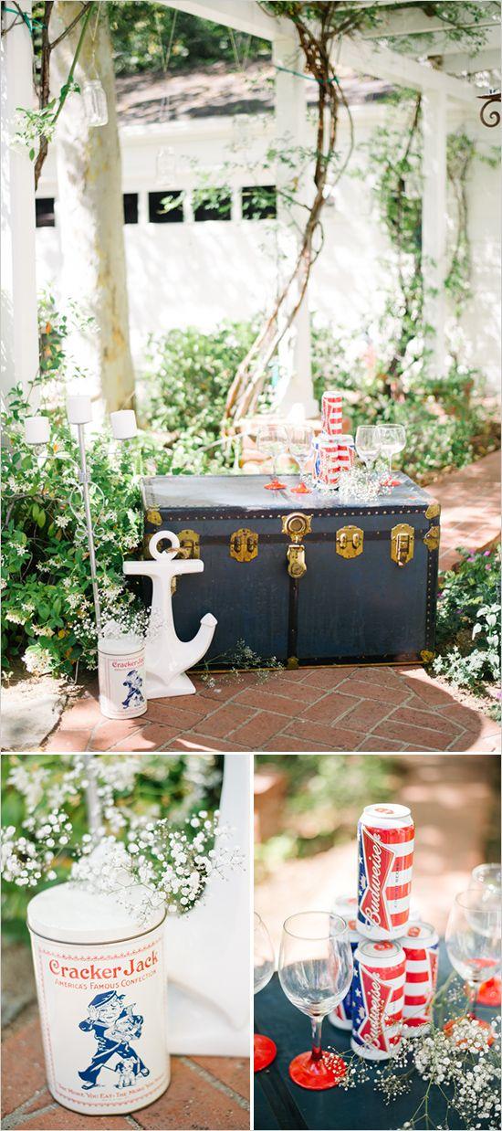 Fourth of July inspired drinks table. #weddingchicks Captured By: Jenna Bechtholt Photography http://www.weddingchicks.com/2014/06/17/patriotic-summer-lovin-wedding/