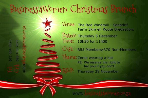 Business4Women Christmas Brunch at The Red Windmill - Don't miss this one it promises to be a very special Event!