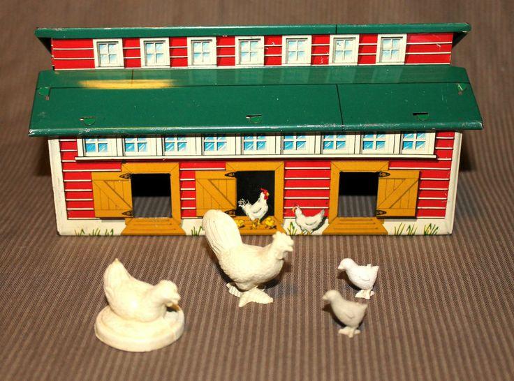 58 best vintage farm toys images on pinterest farm toys for Model chicken set