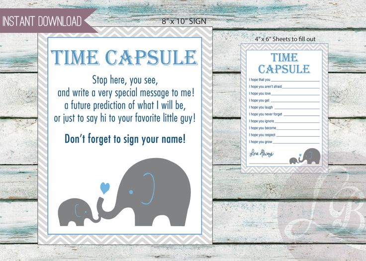 "Baby Time Capsule, baby shower game, Dear Baby, 3 files included! 4x6 & 8x10 and 8.5"" x 11"" sheet - INSTANT DOWNLOAD by DesignsByLindsayy on Etsy https://www.etsy.com/listing/259862970/baby-time-capsule-baby-shower-game-dear"