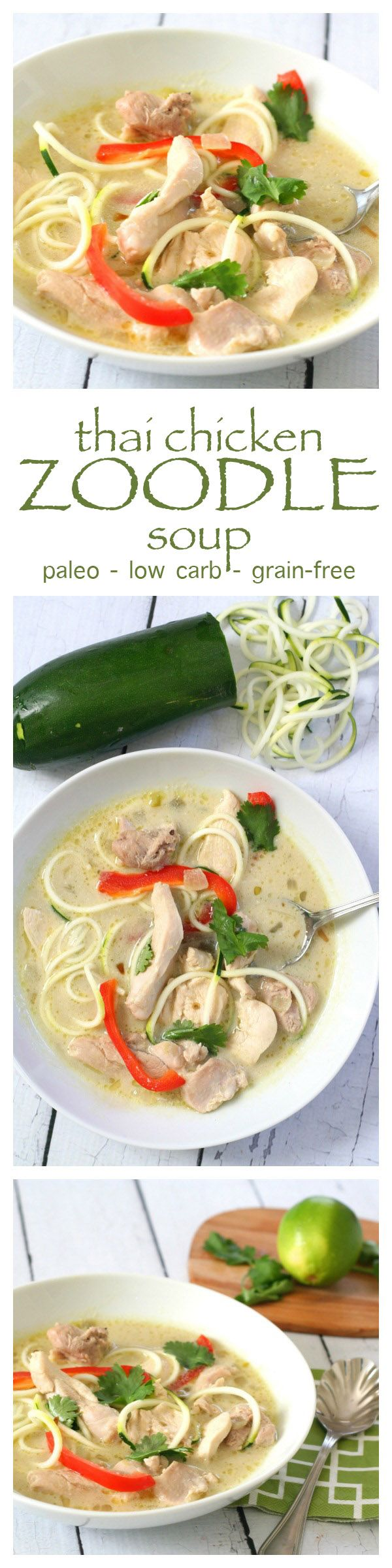 Paleo Thai Chicken Zoodle Soup - warm up with this flavourful. healthy meal!
