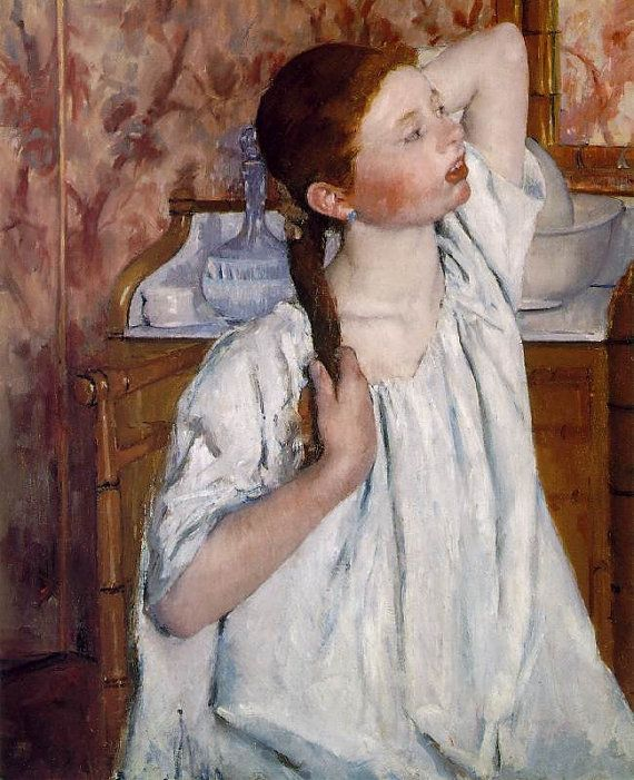 Mary Cassatt Girl Arranging Her Hair 1886. 11x14