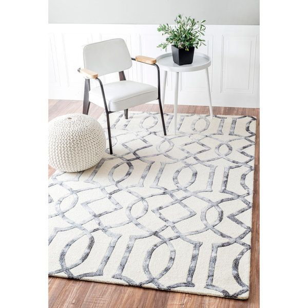 Nuloom Handmade Interlocking Trellis Wool Viscose Silver Rug 7 6 X