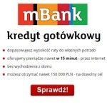Kredyt gotówkowy mBank jest udzielany do kwoty 150 000 zł na okres 84 m-cy. Bardzo ważną jest szybkość z jaką można go otrzymać, a tu jest co pochwalić gdyż pieniądze odebraćnawet w 15 minut. Szybkość wynika z tego, że mBank kredyt gotówkowy sprzedaje w 100%przez internet i