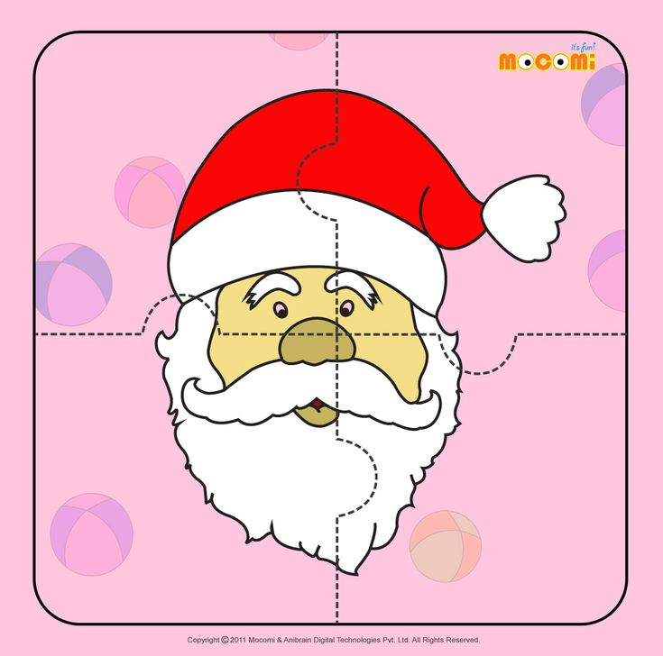 Santa Claus 2 - Download this free #puzzle for kids in pre-school, kindergarden and early elementary. More such #jigsawpuzzlese article at http://mocomi.com/fun/arts-crafts/printables/jigsaw-puzzles/