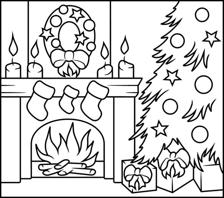 рисунки камина на новый год