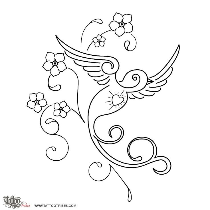 Sparrow and flowers    The sparrow has been one of the mostly used symbols in the old school classic style to represent a safe voyage, and a safe return.    This design, which could be coloured with light shades, was prepared for Stefania, to wish a safe voyage to an unborn baby, and to tell him he will always be in her heart.    The flowers used in this design are flowers of forget-me-not.