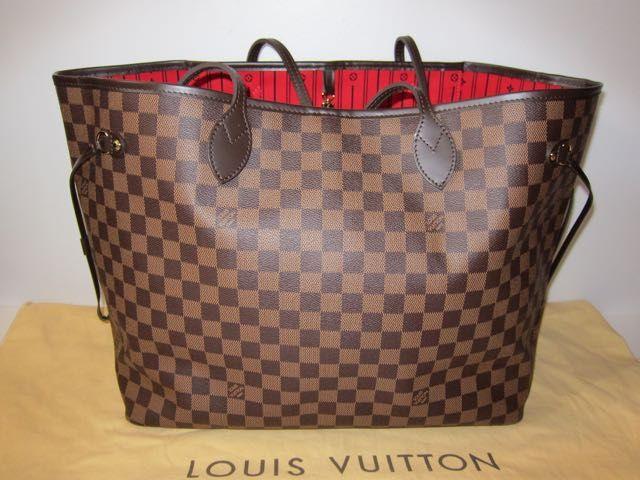 Authentic Louis Vuitton XL Damier Ebene Neverfull GM Excellent