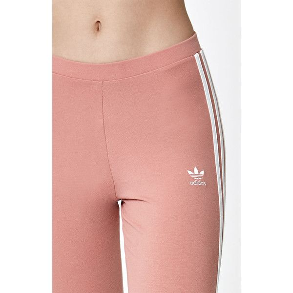 adidas Pink 3-Stripes Leggings (1.975 RUB) ❤ liked on Polyvore featuring pants, leggings, red striped pants, striped trousers, stripe leggings, adidas pants and striped leggings