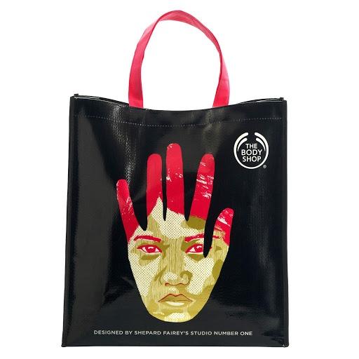 Shepard Fairey design bag for The Body Shop