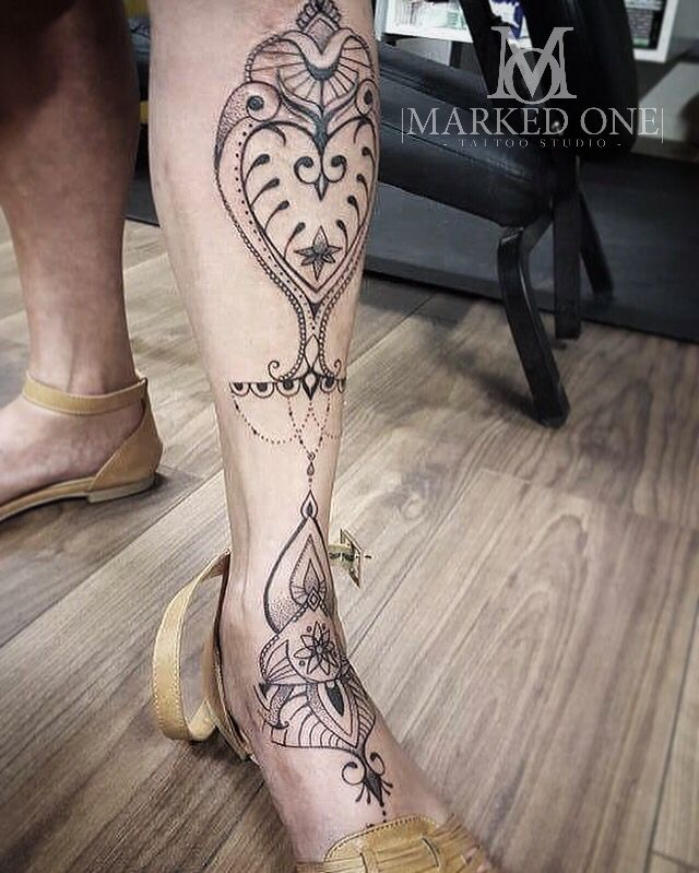Shin leg tattoo. Girly custom tattoo by Abbie!   – tats