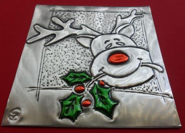 Reindeer Card Workshop by Caroline @ Pewter Concepts -- idea, wood tile, foam sheet, foil, embosser, paint