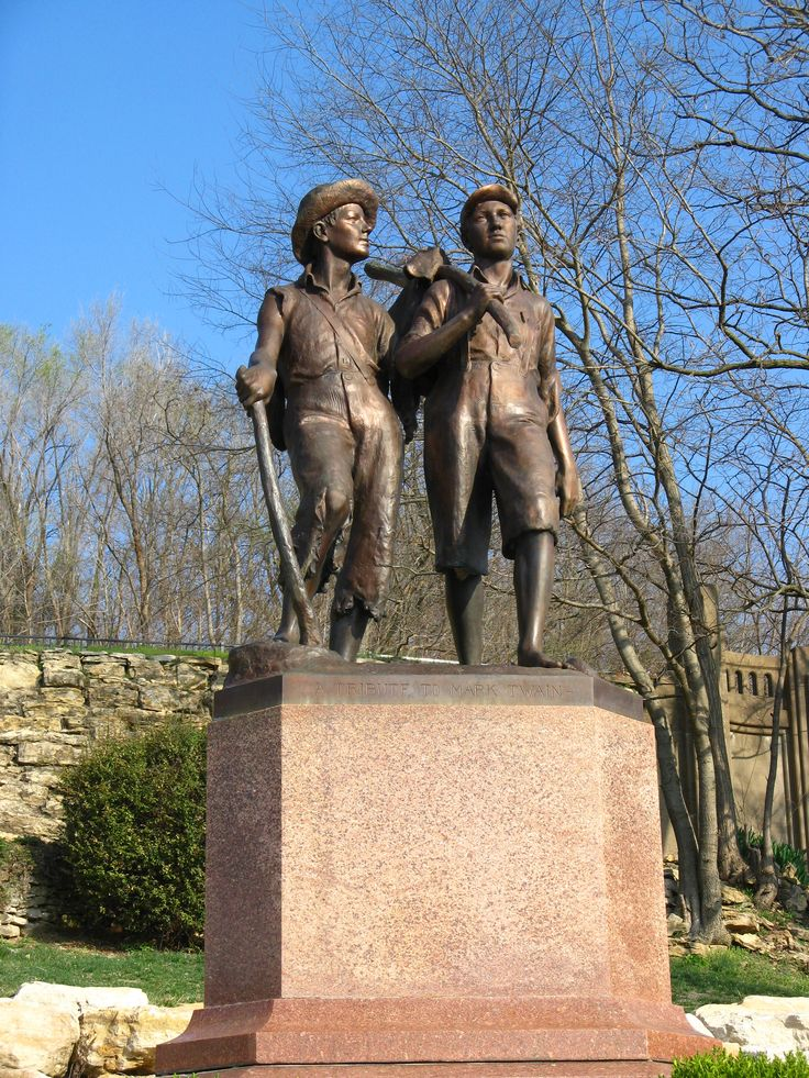 Visit Hannibal Missouri— Tom & Huck Statue...Mark Twain's Childhood Home  http://greathall.com/products/tomsawyer.html