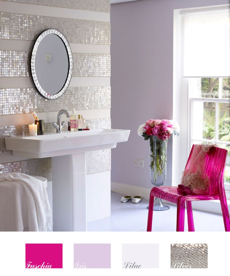 nice small bathroom see more love this pallette fuschia iris lilac and silver