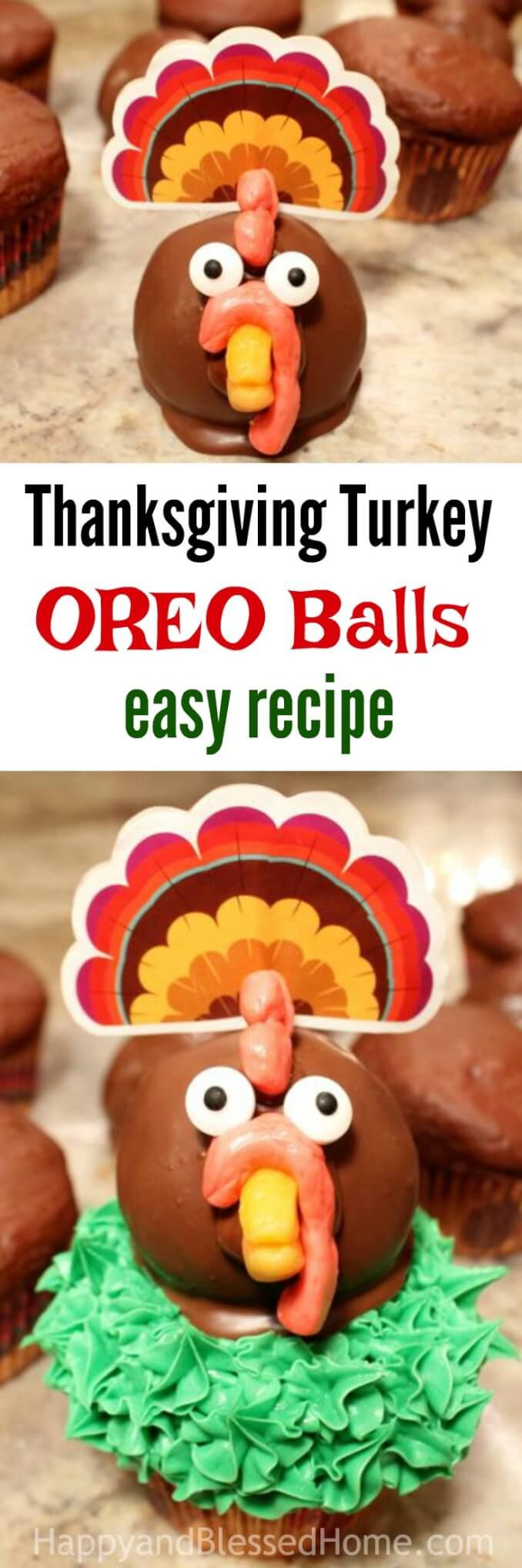 Thanksgiving Turkey OREO Balls Recipe - perfect for your Thanksgiving Day Meal