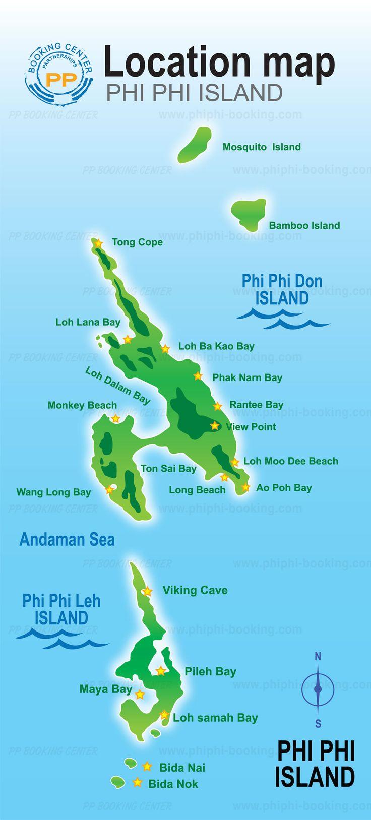 Regionen Orte Phi Phi Island Karte Phi Phi Island Thailand