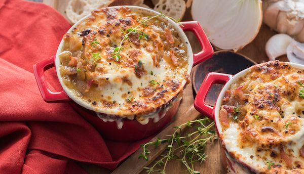 Soupe à L'oignon et au Bacon avec Croûtons au Fromage Mozzarellissima