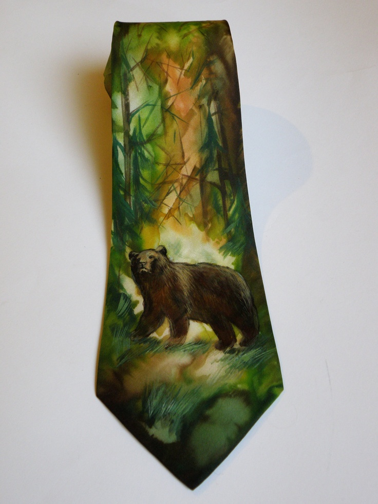 Men's hand painted necktie - Men necktie Wild bear - in green and brown coloring FREE SHIPPING. $120.00, via Etsy.
