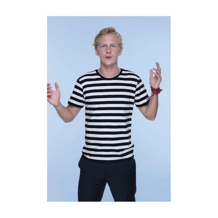 Pánské bílo černé vězeňské pruhované tričko. Proužkované tričko.
