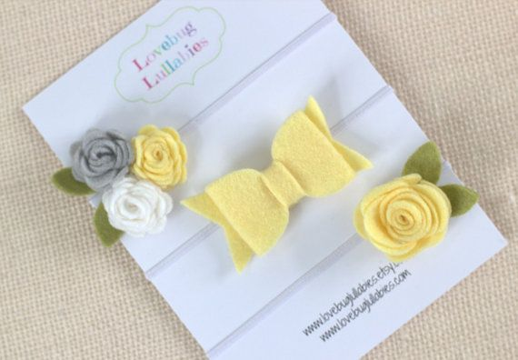 Baby Shower Gift Set Idea  Yellow Gray Headbands or Hair Clips SET OF 3 Rolled Roses & Hair Bow