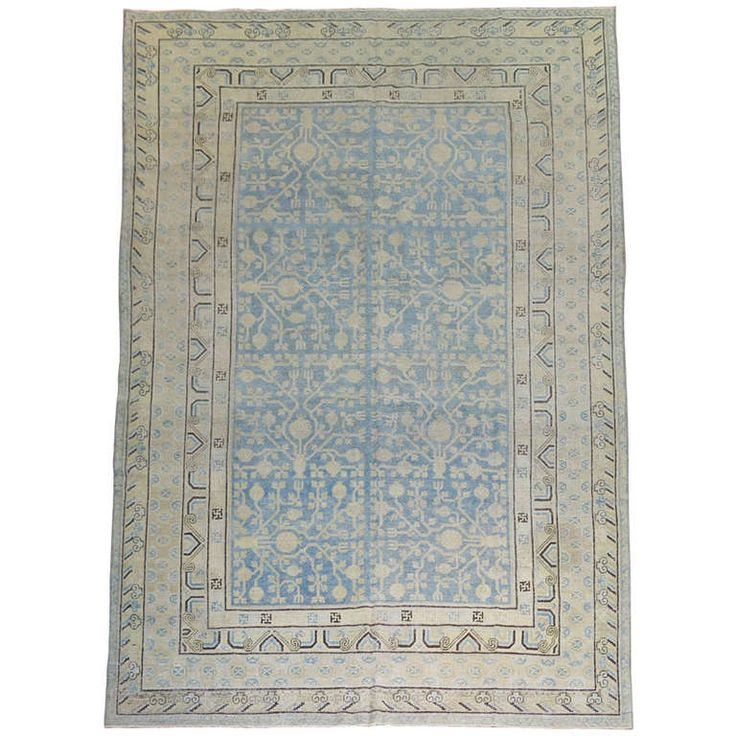 Antique Light Blue Khotan Samarkand Rug | From a unique collection of antique and modern central asian rugs at http://www.1stdibs.com/furniture/rugs-carpets/central-asian-rugs/