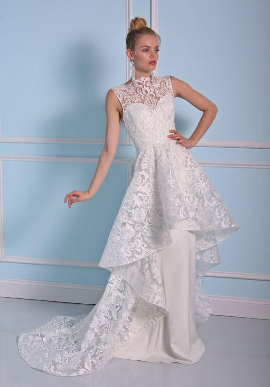 Trendy Sheath wedding dress with peplum Christian Siriano for Kleinfeld BSS http