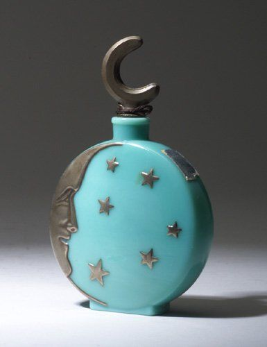 """Lune de Miel,"" a DEPINOIX perfume bottle for Sari, circa 1926, in opaque turquoise glass"