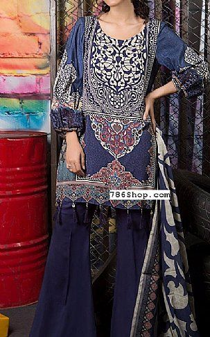 Navy Blue Linen Suit | Buy Maria B Pakistani Dresses and Clothing online in USA, UK