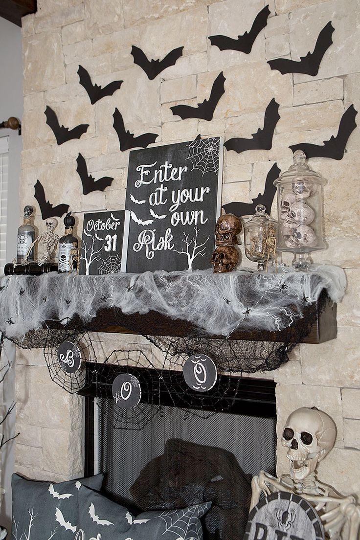 halloween mantel decor black and white spooky halloween decor halloween home decor with free