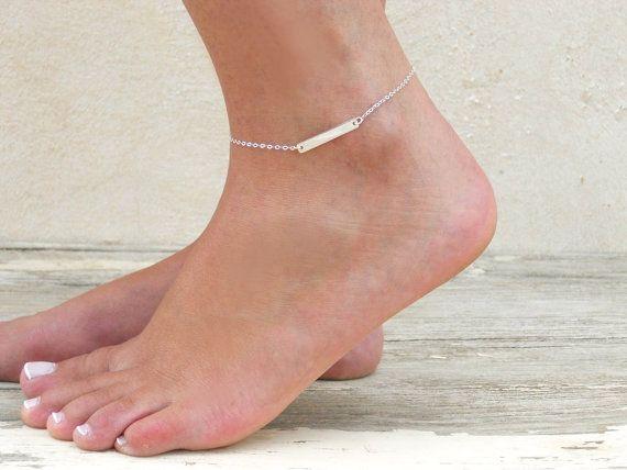 Silver Bar Anklet, Delicate Silver Ankle Bracelet, Sterling Silver Bar Anklet…