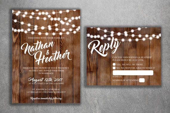 The white lettering on this barn wood back drop is perfect and would be great for a rustic country wedding. The glowing lights are the perfect added touch. All invitations are printed on premium 100 pound card stock and completely customizable. THIS IS WHAT YOU WILL GET : With this package, you will be receiving the items listed below: *5 x 7 inches single-sided wedding invitation *4.25 x 5.5 inches double-sided self mailing RSVP card *A7 (5 x 7) white invitation envelope ****Colors can be…