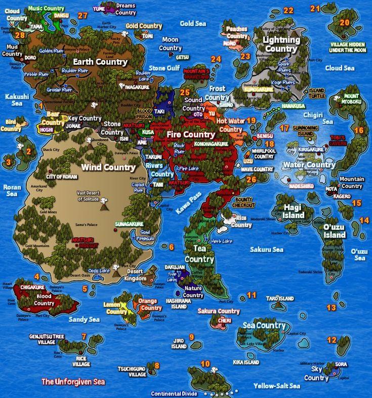 Naruto World Map with Markings (794×849) | Random fun, sad