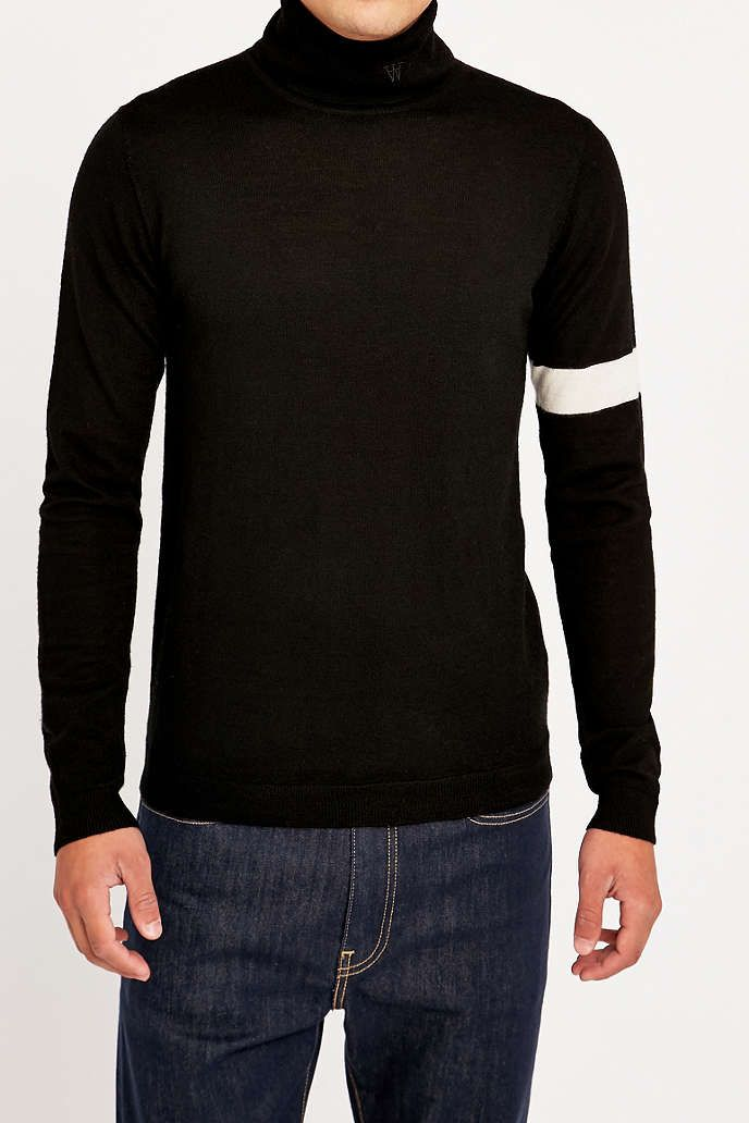 Wood Wood Jaques Black Turtleneck Jumper - Urban Outfitters