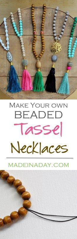 Two different ways of How to make the popular DIY Beaded Tassel Necklaces. See the tutorial and start making these trendy necklaces today!   via @madeinaday