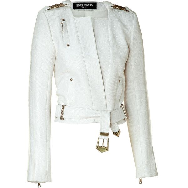 BALMAIN Cream Cropped Belted Jacket ($2,680) ❤ liked on Polyvore featuring  outerwear, jackets