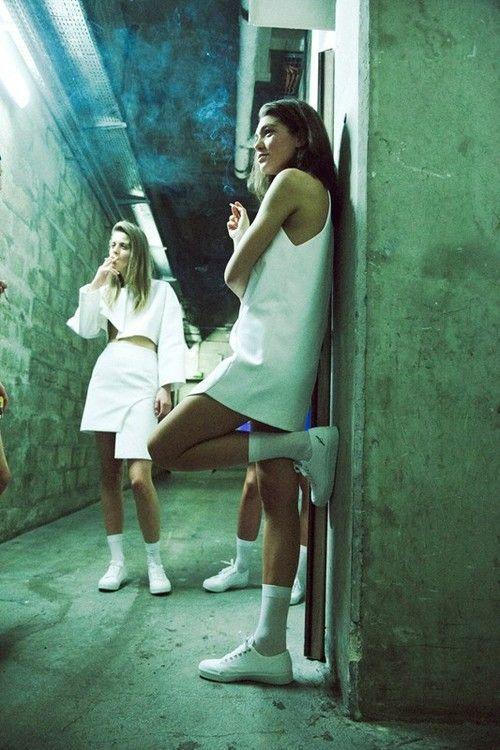 white sneakers white dress  #fashion #pixiemarket