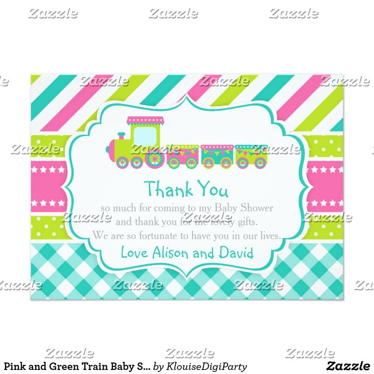 Pink and Green Train Baby Shower Thank You Card