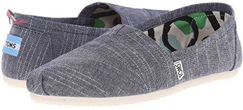 Toms Classic Blue Chambray Womens Canvas Espadrilles Shoes Slipons-4 - Chaussures toms (*Partner-Link)