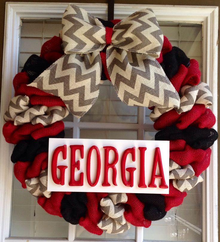 Burlap Wreath - Summer Wreaths for Door - Door Wreath - Front Door Wreath - University of Georgia Wreath - Georgia Bulldogs by JnSMDesigns on Etsy
