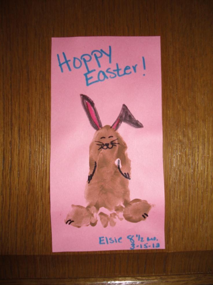 Hoppy Easter Footprint Craft: Footprint Art,  Dust Jackets, Kiddo Easter, Bunnies Footprint, Foot Prints, Footprint Crafts, Footprint Activities, Easter Footprint, Easter Ideas