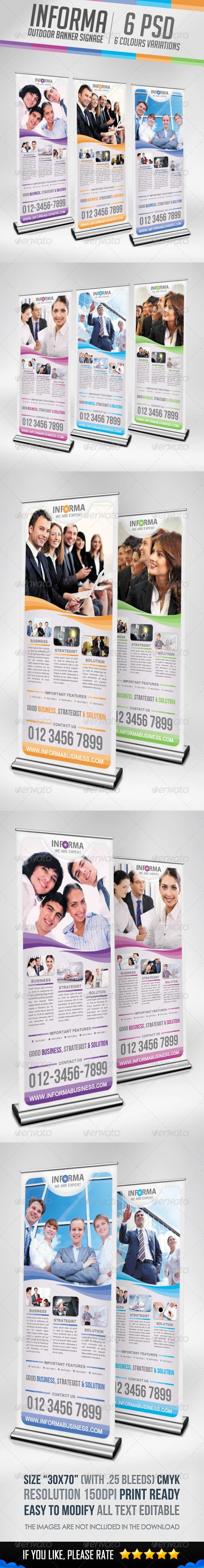"""Informa - Outdoor Banner Signage #GraphicRiver Informa Banner Signage template suitable for any kind of corporate & businesses with easily edit to fit your needs. :)) Informa Outdoor Banner Signage Features : 6 .PSD files & 6 Colours Variations Size """"30×70"""", with 0.25 bleed CMYK Color, 150 dpi Guide lines Print Ready All Text Editable Well Organized Free Font Used, Link in Package download Image Stock if you want used, Link in Package download Please Don't Forget it to RATE ITEM when…"""