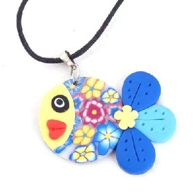$8.60 Summer Handmade CZ Fish Flower Fimo Beads Charms Necklace Jewelry