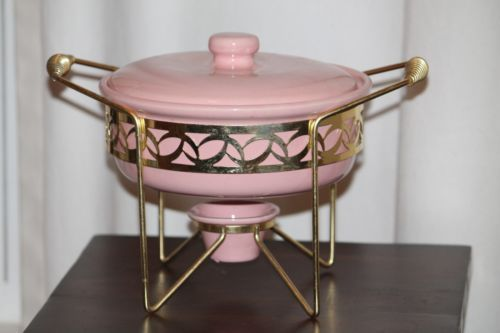 Wonderful Bauer Mid Century Pink Chafing Dish Complete and Beautiful | eBay