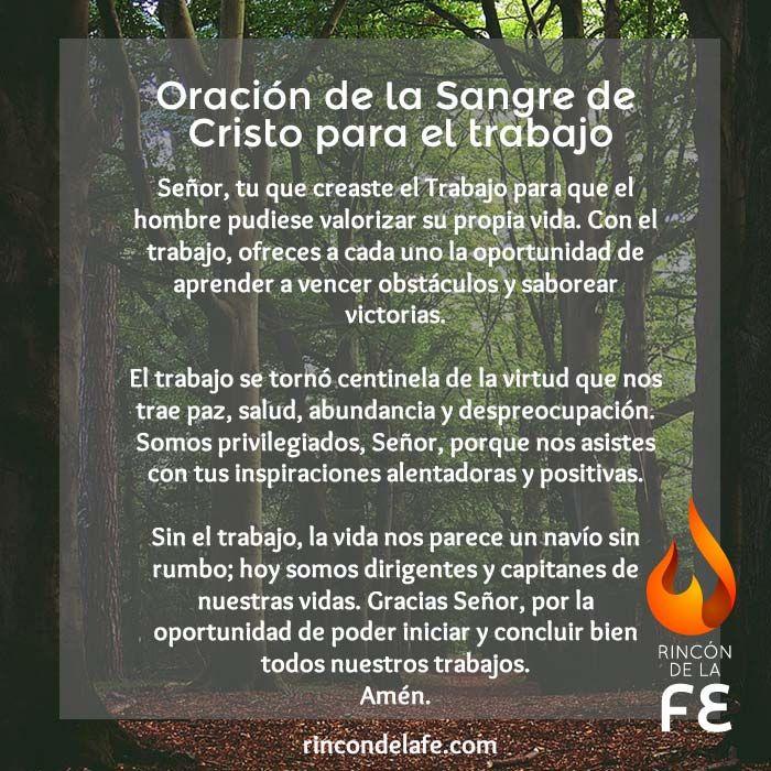 Oración de la Sangre de Cristo para el trabajo