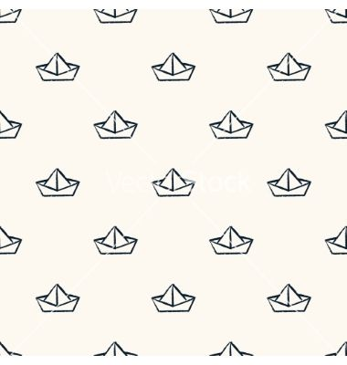 Seamless nautical pattern with paper boats vector - by svetolk on VectorStock®